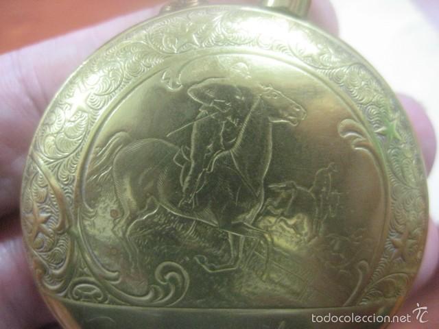 TREMENDO RELOJ DE BOLSILLO ROSKOPF SABONETA COMPLETO LABRADO DORADO, 56 MM, DATA DE 1900,FUNCIONANDO (Relojes - Bolsillo Carga Manual)