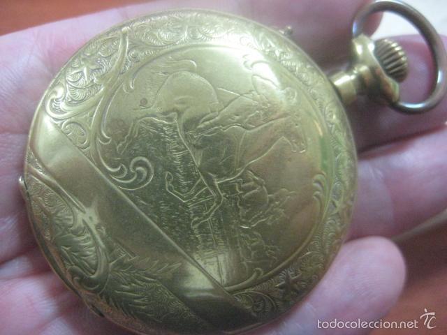 Relojes de bolsillo: TREMENDO RELOJ DE BOLSILLO ROSKOPF SABONETA COMPLETO LABRADO DORADO, 56 MM, DATA DE 1900,FUNCIONANDO - Foto 2 - 57698667