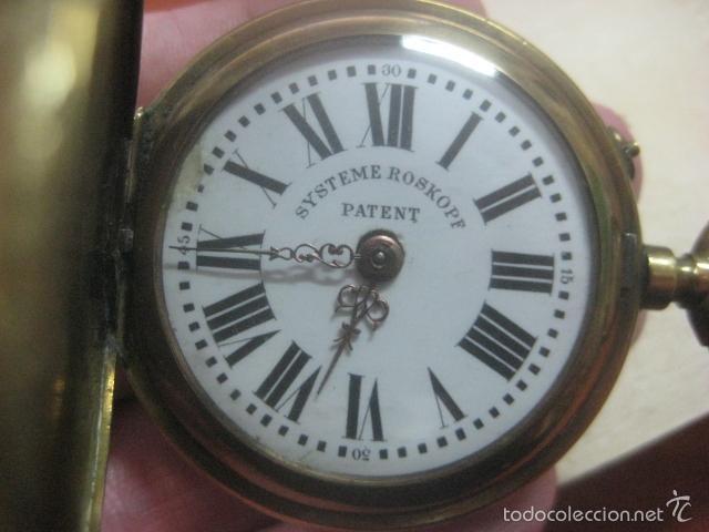 Relojes de bolsillo: TREMENDO RELOJ DE BOLSILLO ROSKOPF SABONETA COMPLETO LABRADO DORADO, 56 MM, DATA DE 1900,FUNCIONANDO - Foto 4 - 57698667