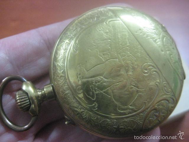 Relojes de bolsillo: TREMENDO RELOJ DE BOLSILLO ROSKOPF SABONETA COMPLETO LABRADO DORADO, 56 MM, DATA DE 1900,FUNCIONANDO - Foto 7 - 57698667