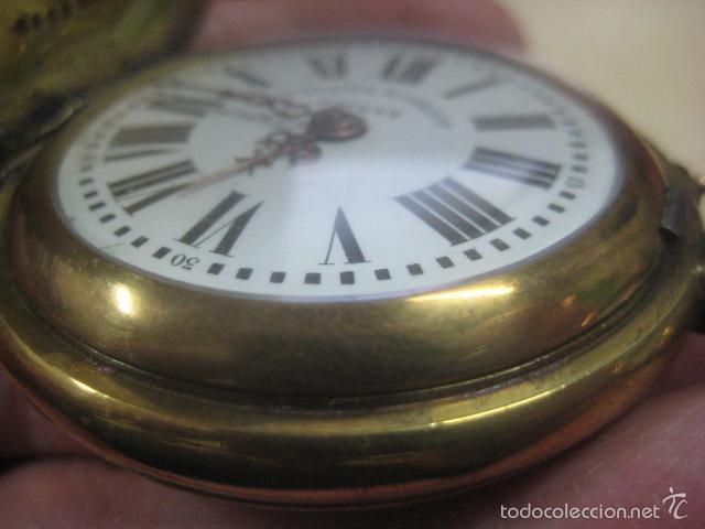 Relojes de bolsillo: TREMENDO RELOJ DE BOLSILLO ROSKOPF SABONETA COMPLETO LABRADO DORADO, 56 MM, DATA DE 1900,FUNCIONANDO - Foto 8 - 57698667