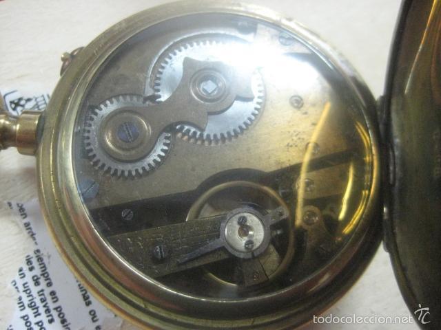 Relojes de bolsillo: TREMENDO RELOJ DE BOLSILLO ROSKOPF SABONETA COMPLETO LABRADO DORADO, 56 MM, DATA DE 1900,FUNCIONANDO - Foto 9 - 57698667