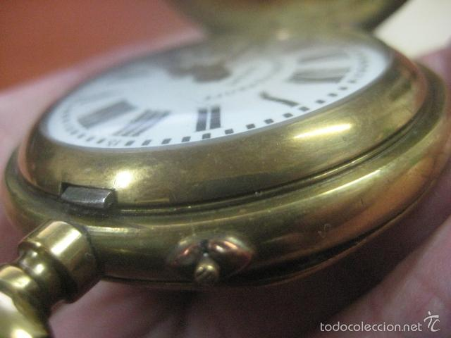 Relojes de bolsillo: TREMENDO RELOJ DE BOLSILLO ROSKOPF SABONETA COMPLETO LABRADO DORADO, 56 MM, DATA DE 1900,FUNCIONANDO - Foto 10 - 57698667