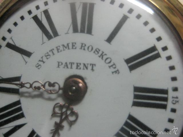Relojes de bolsillo: TREMENDO RELOJ DE BOLSILLO ROSKOPF SABONETA COMPLETO LABRADO DORADO, 56 MM, DATA DE 1900,FUNCIONANDO - Foto 14 - 57698667
