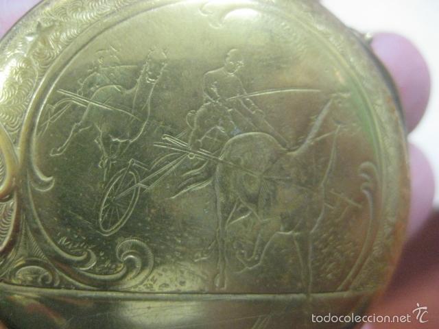 Relojes de bolsillo: TREMENDO RELOJ DE BOLSILLO ROSKOPF SABONETA COMPLETO LABRADO DORADO, 56 MM, DATA DE 1900,FUNCIONANDO - Foto 15 - 57698667