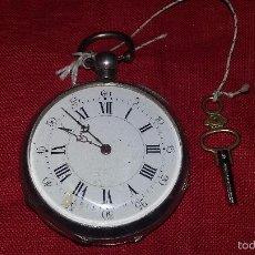 Relojes de bolsillo: RELOJ DE BOLSILLO CYLINDRE DE PLATA CON LLAVE, FUNCIONANDO. Lote 57724002