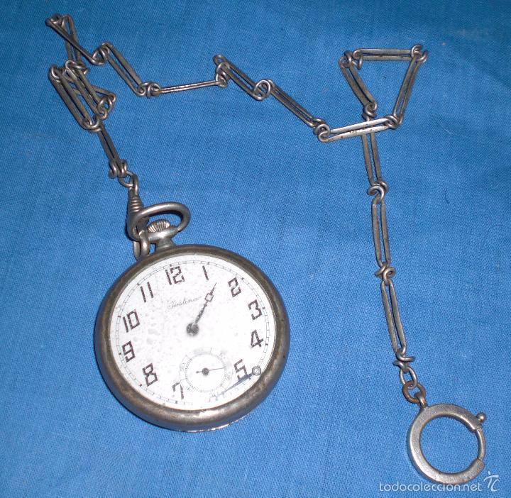 VIEJO RELOJ DE BOLSILLO JUSTINA (Relojes - Bolsillo Carga Manual)