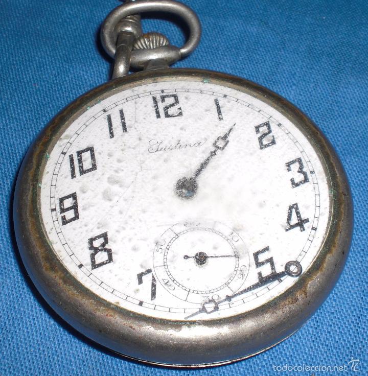 Relojes de bolsillo: Viejo reloj de bolsillo Justina - Foto 3 - 58631136