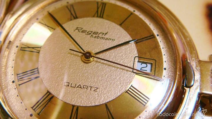 Relojes de bolsillo: REGENT HABMANN EXTRA-PLANO SWISS MADE CHAPADO 18K - CALENDARIO - Foto 2 - 59942115