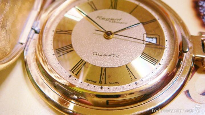 Relojes de bolsillo: REGENT HABMANN EXTRA-PLANO SWISS MADE CHAPADO 18K - CALENDARIO - Foto 3 - 59942115