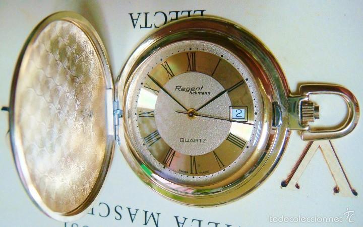 Relojes de bolsillo: REGENT HABMANN EXTRA-PLANO SWISS MADE CHAPADO 18K - CALENDARIO - Foto 4 - 59942115