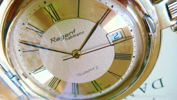 Relojes de bolsillo: REGENT HABMANN EXTRA-PLANO SWISS MADE CHAPADO 18K - CALENDARIO - Foto 5 - 59942115