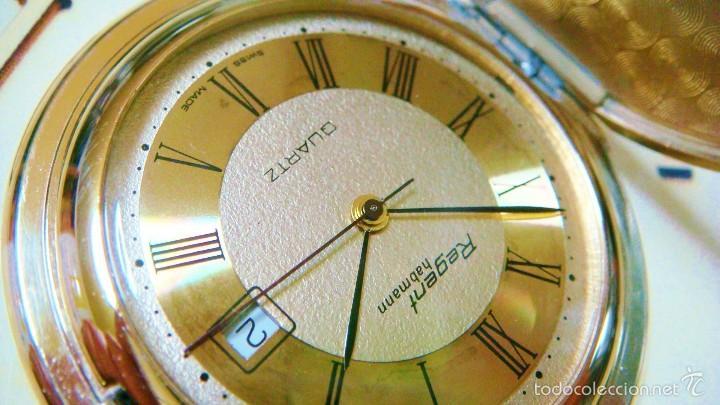 Relojes de bolsillo: REGENT HABMANN EXTRA-PLANO SWISS MADE CHAPADO 18K - CALENDARIO - Foto 6 - 59942115