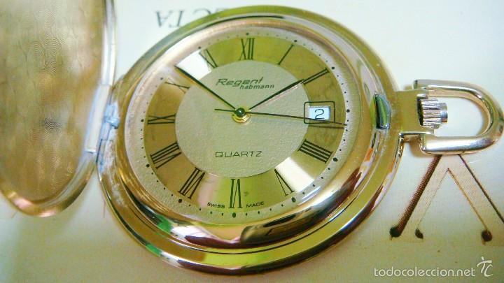 Relojes de bolsillo: REGENT HABMANN EXTRA-PLANO SWISS MADE CHAPADO 18K - CALENDARIO - Foto 7 - 59942115