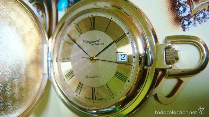 Relojes de bolsillo: REGENT HABMANN EXTRA-PLANO SWISS MADE CHAPADO 18K - CALENDARIO - Foto 8 - 59942115