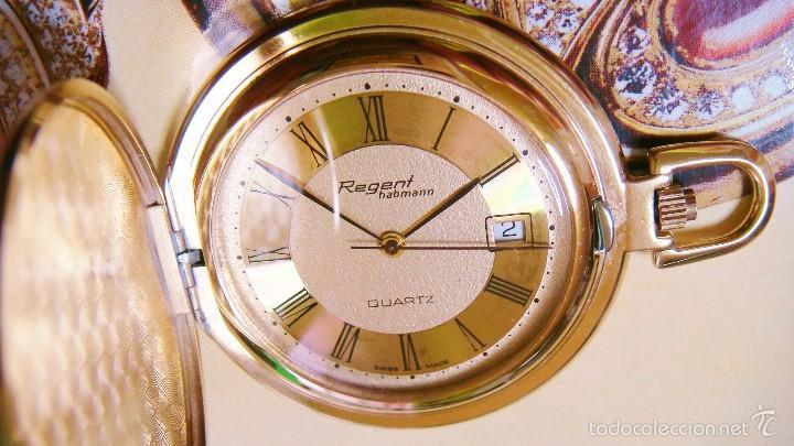 Relojes de bolsillo: REGENT HABMANN EXTRA-PLANO SWISS MADE CHAPADO 18K - CALENDARIO - Foto 11 - 59942115