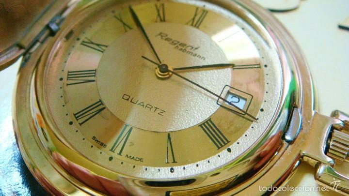 Relojes de bolsillo: REGENT HABMANN EXTRA-PLANO SWISS MADE CHAPADO 18K - CALENDARIO - Foto 12 - 59942115
