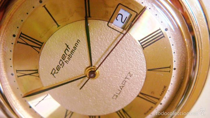 Relojes de bolsillo: REGENT HABMANN EXTRA-PLANO SWISS MADE CHAPADO 18K - CALENDARIO - Foto 18 - 59942115