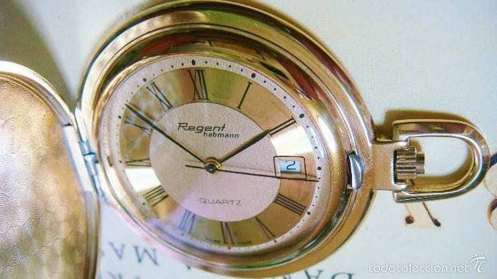 Relojes de bolsillo: REGENT HABMANN EXTRA-PLANO SWISS MADE CHAPADO 18K - CALENDARIO - Foto 27 - 59942115