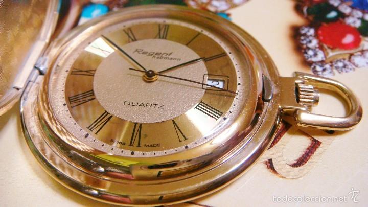 Relojes de bolsillo: REGENT HABMANN EXTRA-PLANO SWISS MADE CHAPADO 18K - CALENDARIO - Foto 29 - 59942115