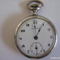 Relojes de bolsillo: RELOJ DE BOLSILLO TRIANGLE PLATA LEY 800 40MM. DIAMETRO 38GR. FUNCIONANDO. Lote 61485211