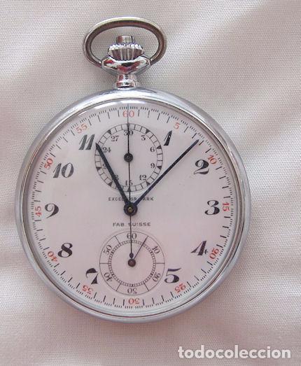RELOJ DE BOLSILLO CRONO CRONOGRAFO ANTIGUO MILITAR EXCELSIOR PARK (Relojes - Bolsillo Carga Manual)