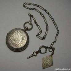 Relojes de bolsillo: PRECIOSO RELOJ DE BOLSILLO. DE 3 TAPAS. PLATA TRABAJADA. GIROD & FONTANEZ. GENEVE. CON LEONTINA.. Lote 64612323