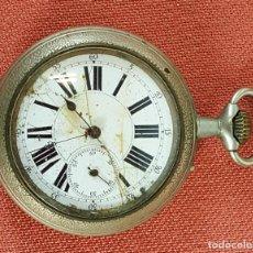 Relojes de bolsillo: RE453. RELOJ DE BOLSILLO. ESTILO ROSKOPF. CAJA EN METAL PLATEADO. SIGLO XX. . Lote 66802822