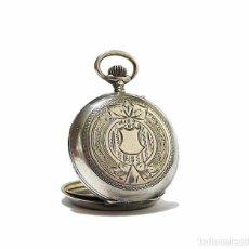Relojes de bolsillo: RELOJ DE BOLSILLO PARA MUJER FUERTE BAÑO DE PLATA CINCELADO- SIGLO XIX. Lote 67112009