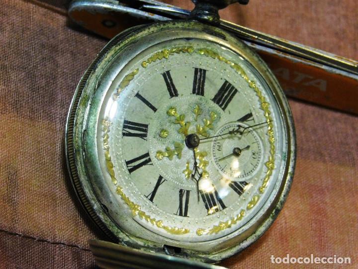 PRECIOSO RELOJ BOLSILLO ISABELINO CAJA PLATA MAGNIFICA ESFERA ORO Y PLATA (Relojes - Bolsillo Carga Manual)