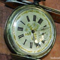 Relojes de bolsillo: PRECIOSO RELOJ BOLSILLO ISABELINO CAJA PLATA MAGNIFICA ESFERA ORO Y PLATA. Lote 67493949