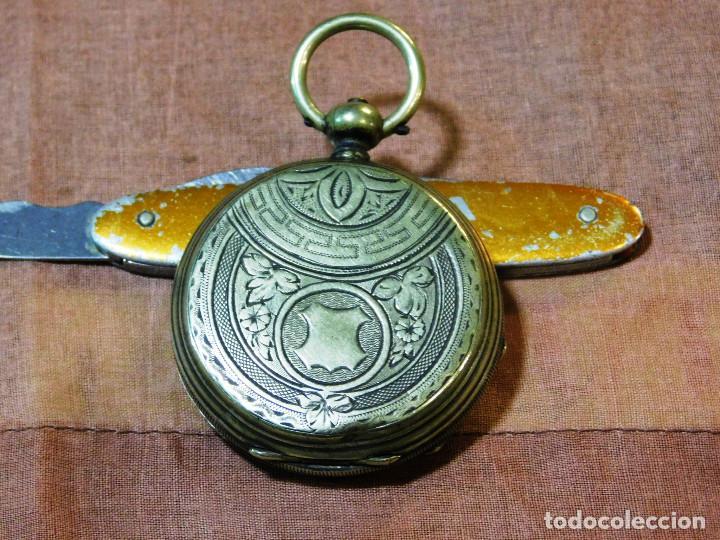 Relojes de bolsillo: PRECIOSO RELOJ BOLSILLO ISABELINO CAJA PLATA MAGNIFICA ESFERA ORO Y PLATA - Foto 2 - 67493949