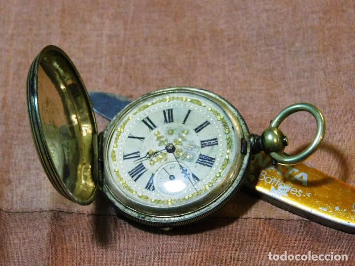 Relojes de bolsillo: PRECIOSO RELOJ BOLSILLO ISABELINO CAJA PLATA MAGNIFICA ESFERA ORO Y PLATA - Foto 3 - 67493949