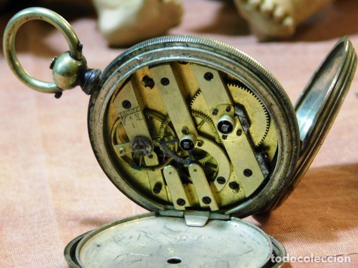 Relojes de bolsillo: PRECIOSO RELOJ BOLSILLO ISABELINO CAJA PLATA MAGNIFICA ESFERA ORO Y PLATA - Foto 4 - 67493949