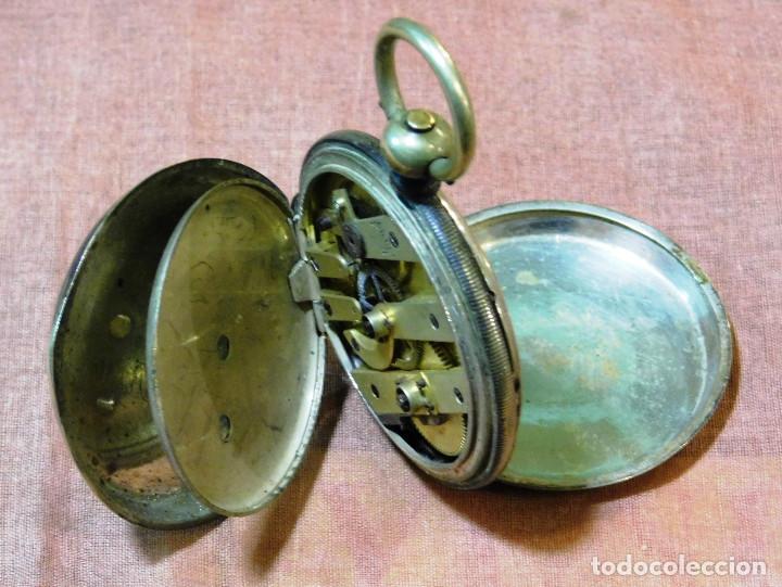 Relojes de bolsillo: PRECIOSO RELOJ BOLSILLO ISABELINO CAJA PLATA MAGNIFICA ESFERA ORO Y PLATA - Foto 6 - 67493949