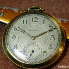 Relojes de bolsillo: PRECIOSO RELOJ BOLSILLO WALTHAM AMERICANO GOLD FILLED ORO 14 KTS. Lote 67494041