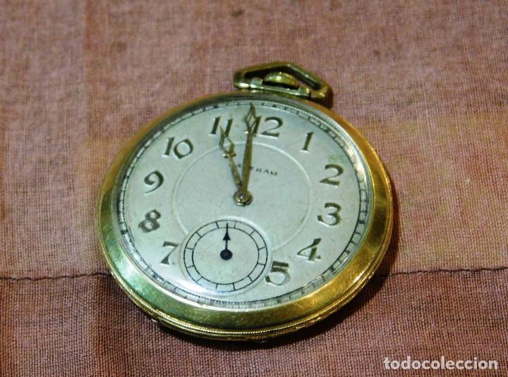Relojes de bolsillo: PRECIOSO RELOJ BOLSILLO WALTHAM AMERICANO GOLD FILLED ORO 14 KTS - Foto 2 - 67494041