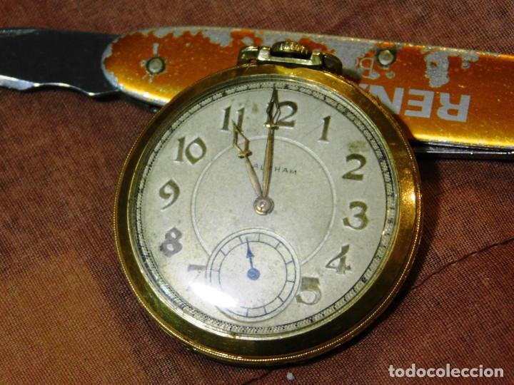 Relojes de bolsillo: PRECIOSO RELOJ BOLSILLO WALTHAM AMERICANO GOLD FILLED ORO 14 KTS - Foto 3 - 67494041