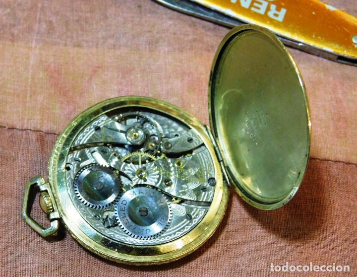 Relojes de bolsillo: PRECIOSO RELOJ BOLSILLO WALTHAM AMERICANO GOLD FILLED ORO 14 KTS - Foto 9 - 67494041