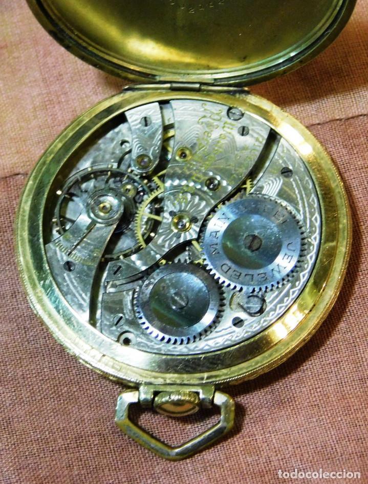 Relojes de bolsillo: PRECIOSO RELOJ BOLSILLO WALTHAM AMERICANO GOLD FILLED ORO 14 KTS - Foto 10 - 67494041