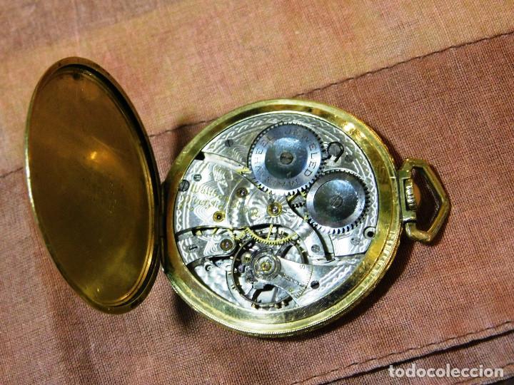 Relojes de bolsillo: PRECIOSO RELOJ BOLSILLO WALTHAM AMERICANO GOLD FILLED ORO 14 KTS - Foto 11 - 67494041