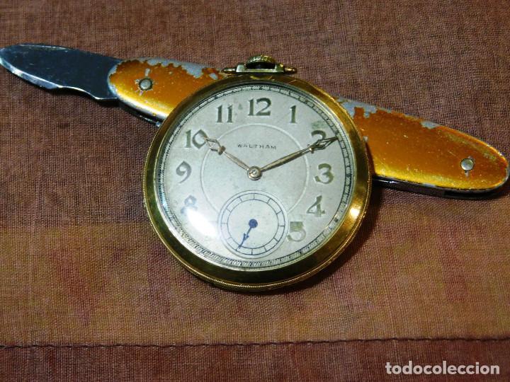 Relojes de bolsillo: PRECIOSO RELOJ BOLSILLO WALTHAM AMERICANO GOLD FILLED ORO 14 KTS - Foto 12 - 67494041