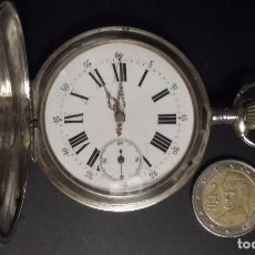 Relojes de bolsillo: RELOJ BOLSILLO PLATA 3 TAPAS REMONTOIR ANCRE JACQUES SIGLO XIX GRAN TAMAÑO 56 MM DIAMETRO. Lote 67625745