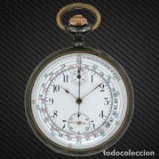 Relojes de bolsillo: W070 - RELOJ DE BOLSILLO CRONOMETRO Y CONTADOR DE KILOMETROS CIRCA DE 1930 CAJA PAVONADA. Lote 68042757