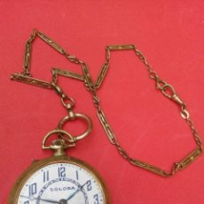 Relojes de bolsillo: ANTIGUO RELOJ EN BRONCE CON LEONTINA. Lote 68566589