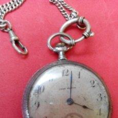 Relojes de bolsillo: ANTIGUO RELOJ EYON WATCH DE PLATA CON LEONTINA. Lote 147368141