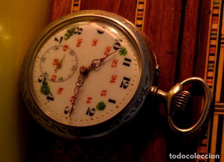 BONITO RELOJ DE BOLSILLO, DEPOSE ARGENTAN (Relojes - Bolsillo Carga Manual)
