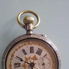 Relojes de bolsillo: RELOJ BOLSILLO PLATA 800 DOS TAPAS ESFERA CATALANA FILIGRANA ORO SIGLO XIX, FUNCIONA CORRECTAMENTE.. Lote 68922865