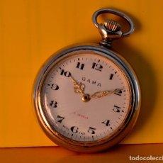 Relojes de bolsillo: PRECIOSO RELOJ DE BOLSILLO GAMA, SUIZO, 17 RUBIS, ROSKOPF PATENT FAB. Lote 70288265