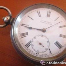 Relojes de bolsillo: TREMENDO RELOJ DE BOLSILLO INGLES DE H.SAMUEL, HECHO A MEDIDA PARA UN ZURDO,CORONA A LAS 9,FUNCIONA. Lote 71801959
